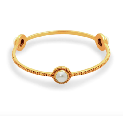 BG182GPL-M Florentine Stone Bangle Gold Pearl Medium