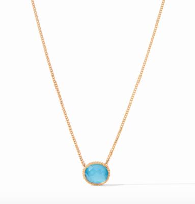 N338GITU00 Verona Solitaire Necklace Turquoise
