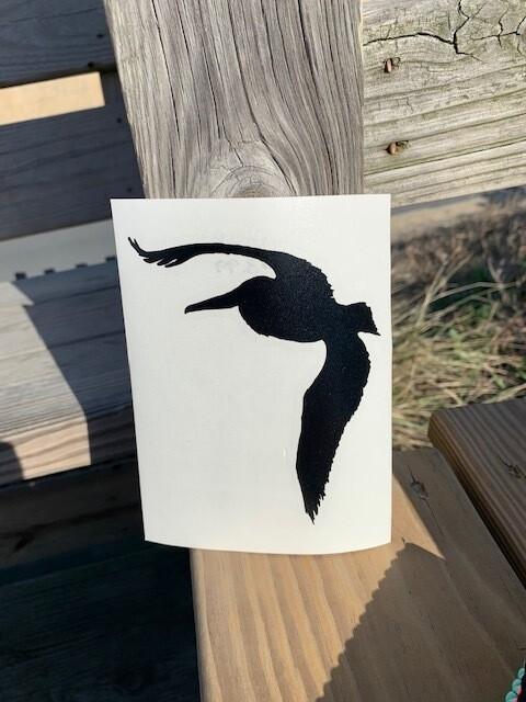 Black Pelican Bird Vinyl Sticker