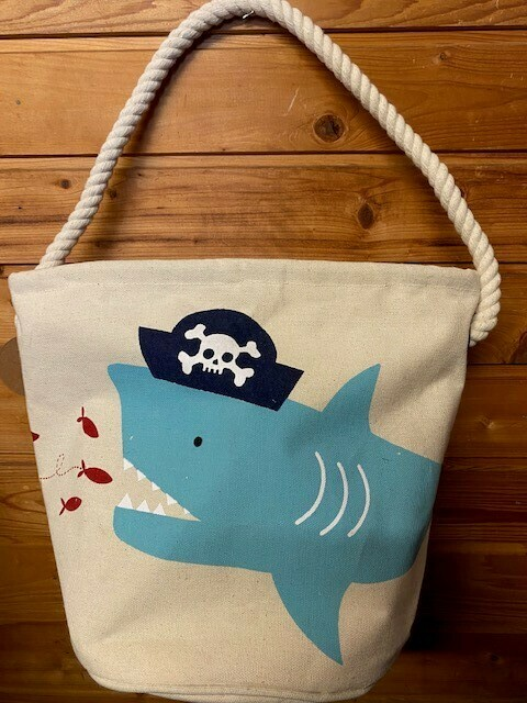 Pirate Shark Canvas Tote