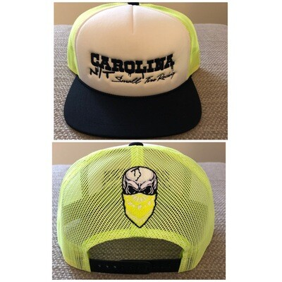Neon yellow/white/black with black letters trucker Hat