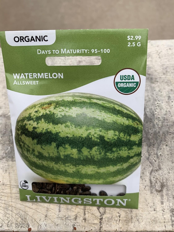 Organic Watermelon Allsweet (Seed)