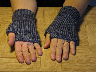 Knit Blue Finger-less Hand Warmers - Size medium