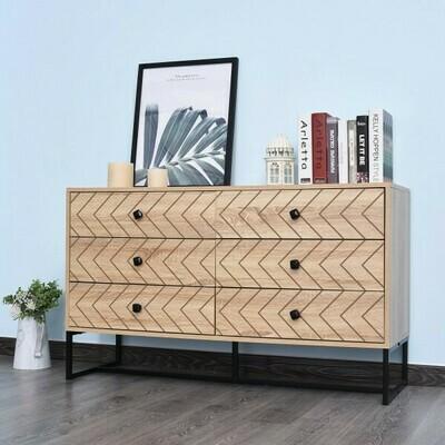 HOMCOM® Kommode Beistellschrank Schubladenschrank 6 Schubladen Anti-Kipp Spanplatte Natur 120 x 39,5 x 71 cm