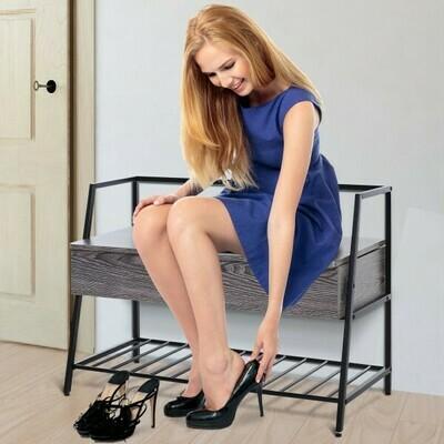 HOMCOM® Sitzbank Schuhregal Schuhbank 2 Staufächer für Eingang Schuhe wechseln Spanplatte Grau 90 x 39 x 61,7cm