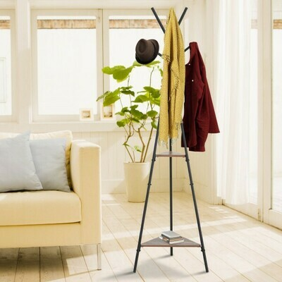 HOMCOM® Garderobenständer Kleiderständer in Baumform 6 Haken, 2 Regale Schwarz Metall 32,5 x 45,5 x 182 cm