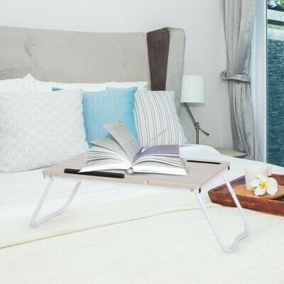 Vinsetto® Lerntisch Laptoptisch Bett Betttisch verstellbar Spanplatte + Metall Natur + Weiß 64 x 36 x 27 cm