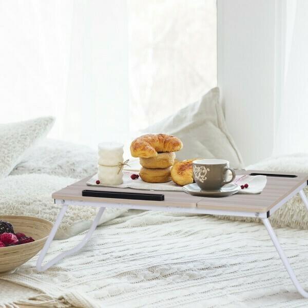 Vinsetto® Betttisch Bettablage Frühstückstisch verstellbar Spanplatte + Metall Natur + Weiß 64 x 36 x 27 cm