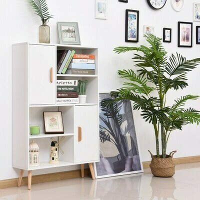 HOMCOM® Standregal Bücherregal mit 8 Fächern 100 kg Belastbarkeit Kiefernholz Weiss 80 x 23,5 x 123 cm