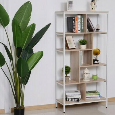 HOMCOM® Bücherregal Holzregal Standregal Büroregal Aufbewahrungsregal Dekoregal 9 x Würfel Natur+Weiss  80x35x160cm