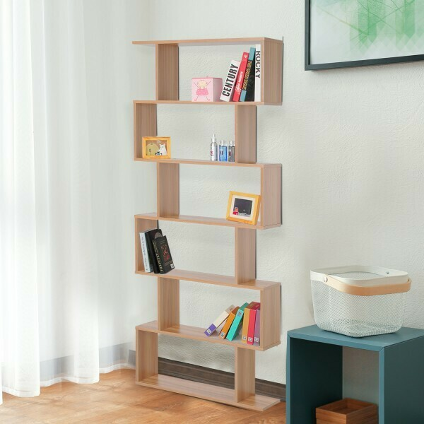HOMCOM® Bücherregal Wandregal Raumteiler mit 6 Fächern Ahorn