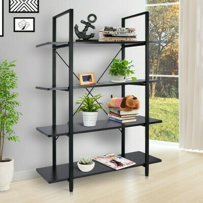 HOMCOM® Standregal Aktenregal Bücherregal Holzregal Lagerregal 4 x Fach Schwarz 105 x 33,8 x 138 cm