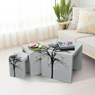 HOMCOM® 3er Set Beistelltisch Satztische Couchtisch Holz Tisch lackiert gebogen.