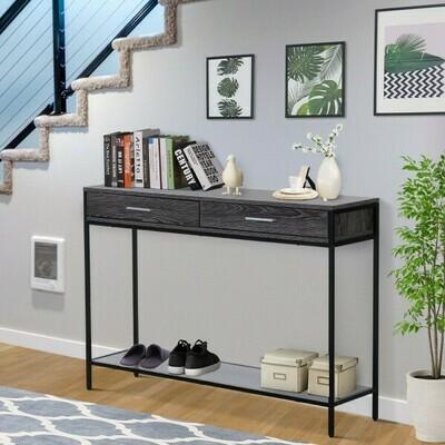 HOMCOM® Beistelltisch Konsolentisch Eingangstisch 2 Schubladen Unterregal Stahl Grau 120 x 30 x 81,5 cm