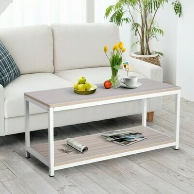 Vinsetto® Couchtisch Beistelltisch Sofatisch Flurtisch Ablage skandinavisch Holz + Metall Natur + Weiß 100 x 40 x 44,5 cm