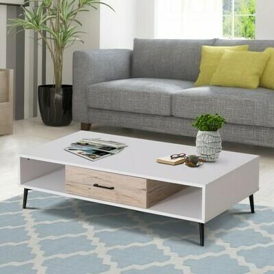 HOMCOM® Couchtisch Beistelltisch Sofatisch Fernsehtisch Kaffeetisch 1 x Schublade 3 x Ablage Holz 110 x 60 x 30 cm