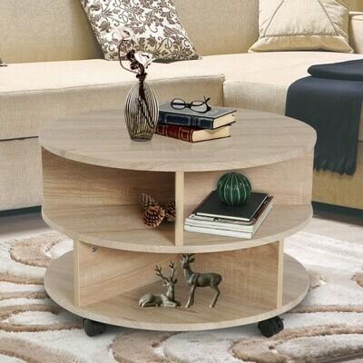 HOMCOM® Beistelltisch Nachttisch Flexibel Rollbar Platzsparend aus Spanplatte Eiche Φ60 x 39,5 cm