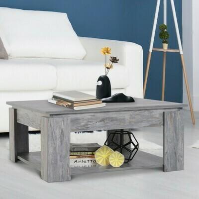 HOMCOM® Couchtisch Beistelltisch Holztisch mit Ablage Pinie Shabby 80 x 80 cm