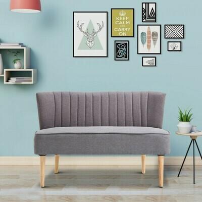 HOMCOM® 2-Sitzer Couch Stoffsofa Polstersofa Sitzmöbel Holz hellgrau 117 x 56,5 x 77 cm