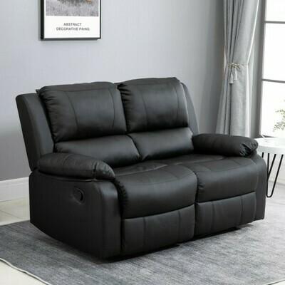 HOMCOM® Doppelsofa Relaxliege Relaxsessel verstellbare Rückenlehnen Holzfüße PU Schwarz