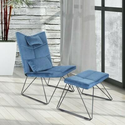 HOMCOM® Loungesessel Loungestuhl Sesselset mit Hocker Flanell Metallrahmen Blau
