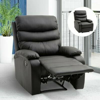 HOMCOM® Relaxsessel Fernsehsessel mit Liegefunktion Neigungswinkel 168 ° Schwarz