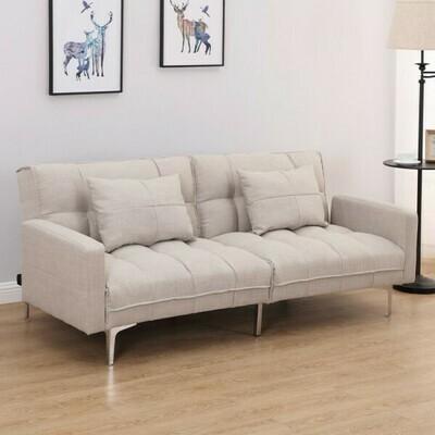 HOMCOM 3-Sitzer Schlafsofa mit Kissen