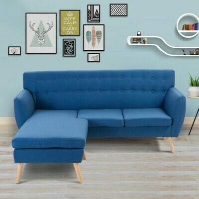 HOMCOM® 3-Sitzer Polstersofa Stoffsofa Lounge Sofa Couch Sitzgruppe Sitzmöbel 2 tlg. mit Hocker Leinen + Holz Blau