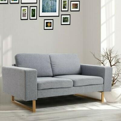 HOMCOM® 2-Sitzer Sofa Stoffsofa Ecksofa Polstersofa Sitzmöbel Armlehne Holz hellgrau