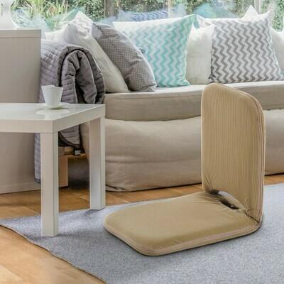 HOMCOM® Sitzkissen Sitzsack Bodenkissen mit Lehne klappbar dunkelbraun