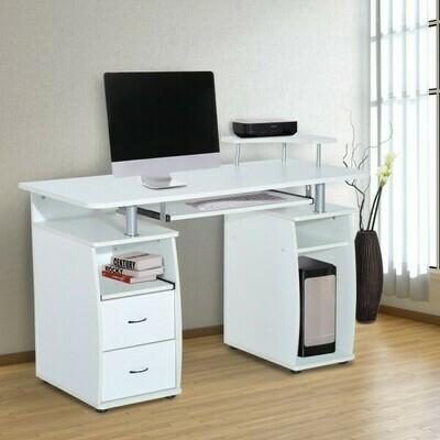 HOMCOM Schreibtisch und Computertisch weiss