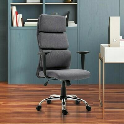 HOMCOM® Bürostuhl Chefsessel höhenverstellbar Leinen Grau
