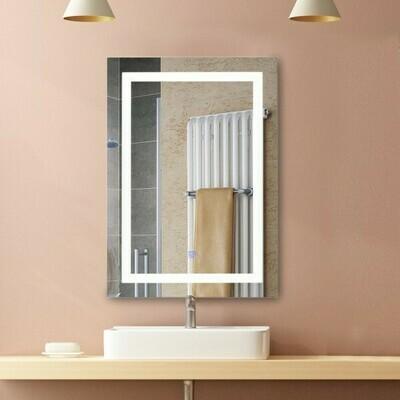 HOMCOM LED Badspiegel | Wandspiegel | Glas, Aluminium | 60 x 80 x 4cm