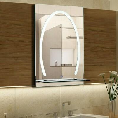 kleankin® LED Badspiegel Badezimmerspiegel Glas-Ablage 30W 70x50cm