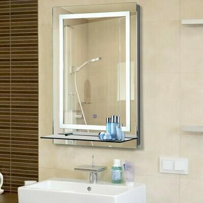 kleankin® LED Badspiegel Badezimmerspiegel Glas-Ablage 38W 70x50cm