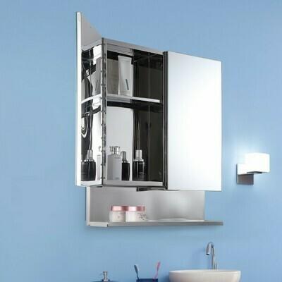 kleankin® Spiegelschrank Glasschrank mit Haken Badezimmerschrank Wandmontage Edelstahl Silber