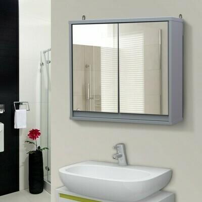 HOMCOM® Badschrank Hängeschrank Badmöbel Wandschrank Spiegelschrank Holz Grau