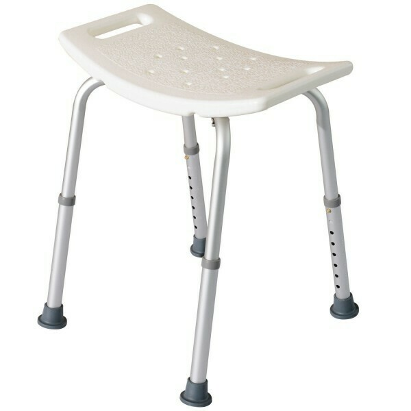 HOMCOM® Duschhocker Badestuhl rechteckig tragbar 8-fach höhenverstellbar