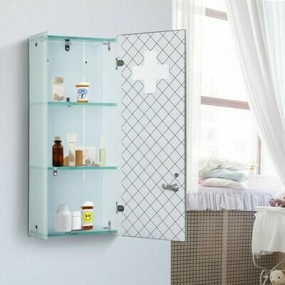HOMCOM® Medizinschrank 3 Fächer Hausaoptheke Hartglas Weiss 25x60cm