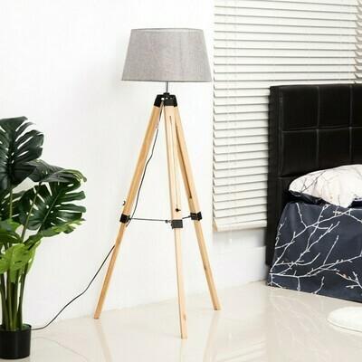 HOMCOM® Stehlampe Dreibein höhenverstellbar 99-143cm E27 Kiefer Grau