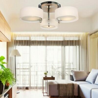 HOMCOM® Deckenlampe Acryl Kronleuchter 40W Leuchte 3-flammig Chrom