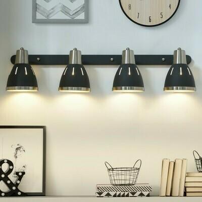 HOMCOM® Wandleuchte 4er-Set Wandstrahler schwenkbar Spot Wandlampe E27 40W Metall schwarz ∅13 x L16 cm
