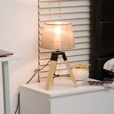 HOMCOM® Tischlampe Dreibein Tischleuchte E27 Leinenoptik Kiefer Grau