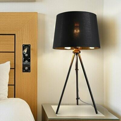 HOMCOM® Tischleuchte Tischlampe E27-Fassung Nachttischlampe 40 W Metall Schwarz 30 x 30 x 60 cm