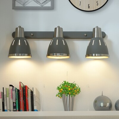 HOMCOM® Wandleuchte 3er-Set Wandstrahler drehbar Spot Wandlampe E27 40 W Metall grau ∅13 x L16 cm (ohne Birne)
