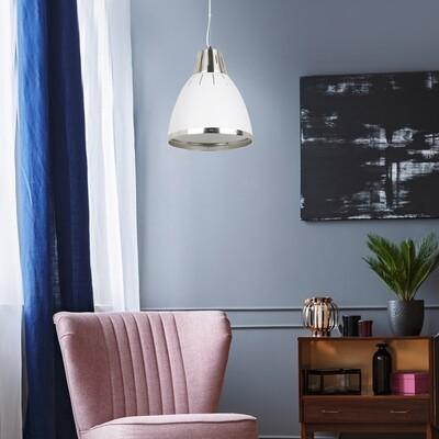 HOMCOM® Hängeleuchte Deckenlampe Industrie Vintage E27 40 W Metall weiss ∅30 x H35 cm (ohne Birne)