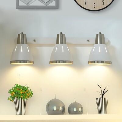 HOMCOM® Wandleuchte 3er-Set Wandstrahler drehbar Spot Wandlampe E27 40 W Metall weiß ∅13 x L16 cm (ohne Birne)