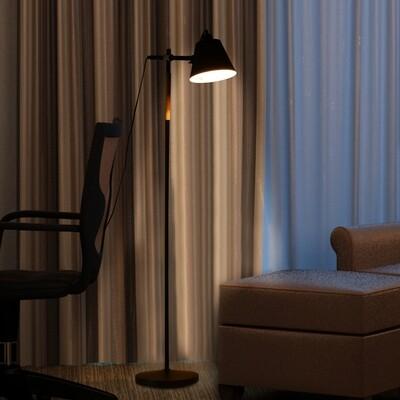 HOMCOM® Stehlampe verstellbar Standleuchte Stehleuchte 40W Metall + Holz schwarz 54 x 30 x 155 cm