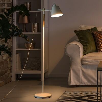 HOMCOM® Stehlampe verstellbar Standleuchte Stehleuchte 40W Metall + Holz weiss 54 x 30 x 155 cm