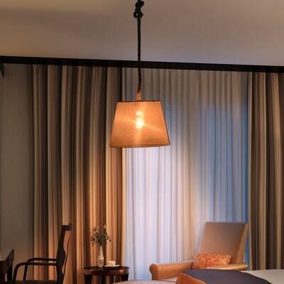 HOMCOM® Hängeleuchte Deckenlampe Hanfseil Lampenschirm E27 40 W beige Ф35 x 160 cm(ohne Birne)
